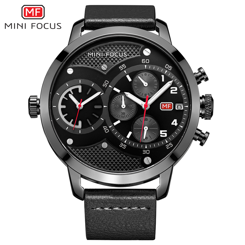 MINI FOCUS Dual Time Chronograph Quartz Watch Men Sports Watches Top Brand Luxury Big Clock Army Military Wrist Watch Male reloj top brand luxury chronograph men sports watches stainless steel quartz watch men army military wrist watch male mini focus clock