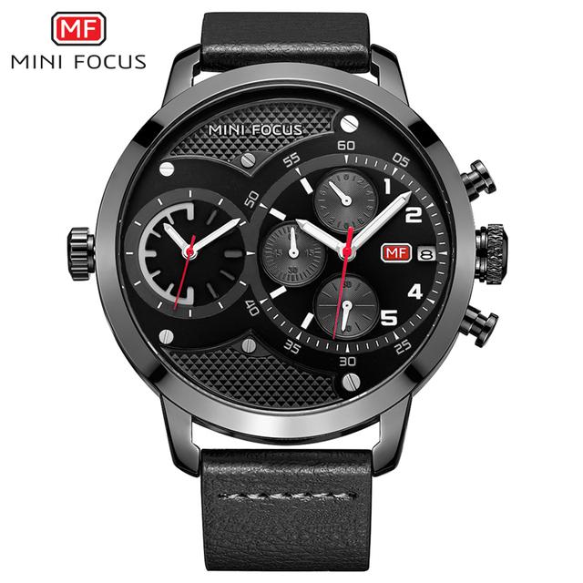 MINI FOCUS Mens Dual Time Chronograph Quartz Watch