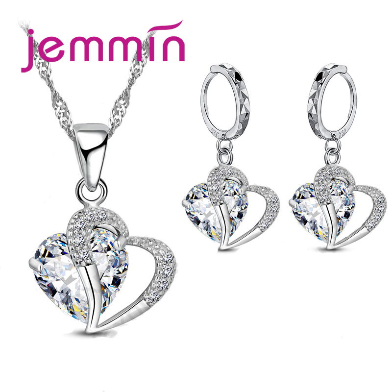 Unique Charm Design Heart to Heart Pendant Necklace Earrings Female 925 Sterling Silver Jewelry Sets For Xmas Festival(China)