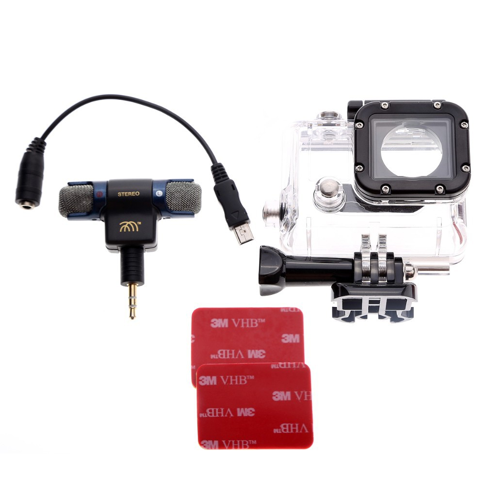 For Gopro Side Open Protective Housing Case Stereo Microphone Microphone Cable Adapter Double Sided Tape for