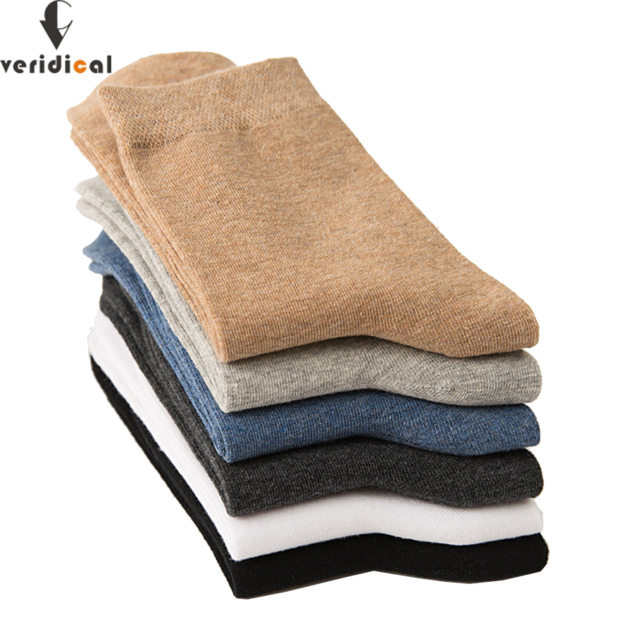 VERIDICAL 5 Pairs/lot Good Quality Men Socks Cotton Long Business Meia Harajuku Diabetic Fluffy Socks Meias Masculino Calcetines