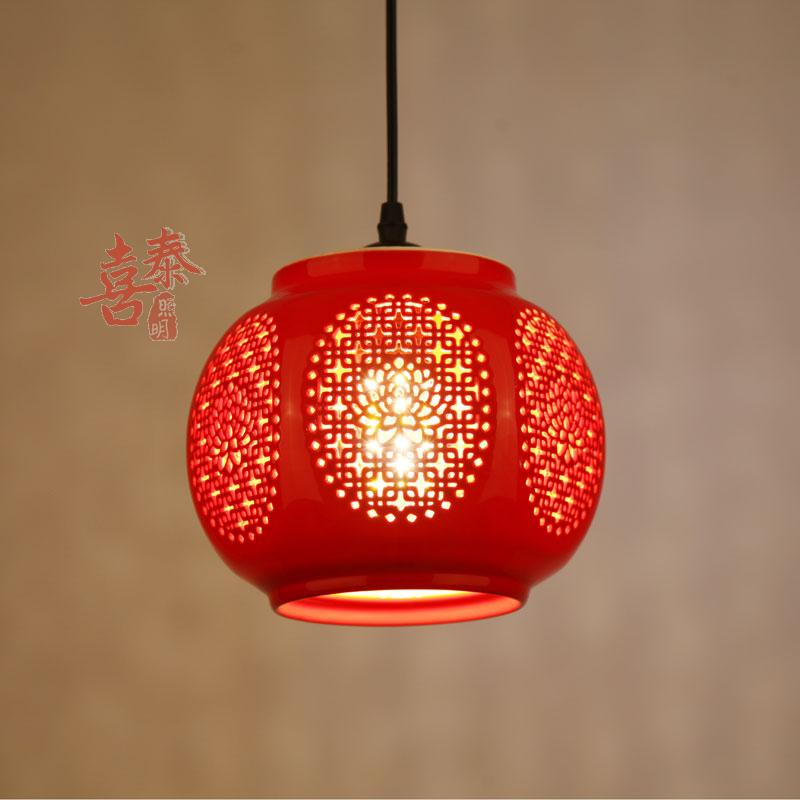 A1 China red lanterns on the balcony aisle entrance hall aisle lamp Chinese ceramic small Pendant Lights home festive lights