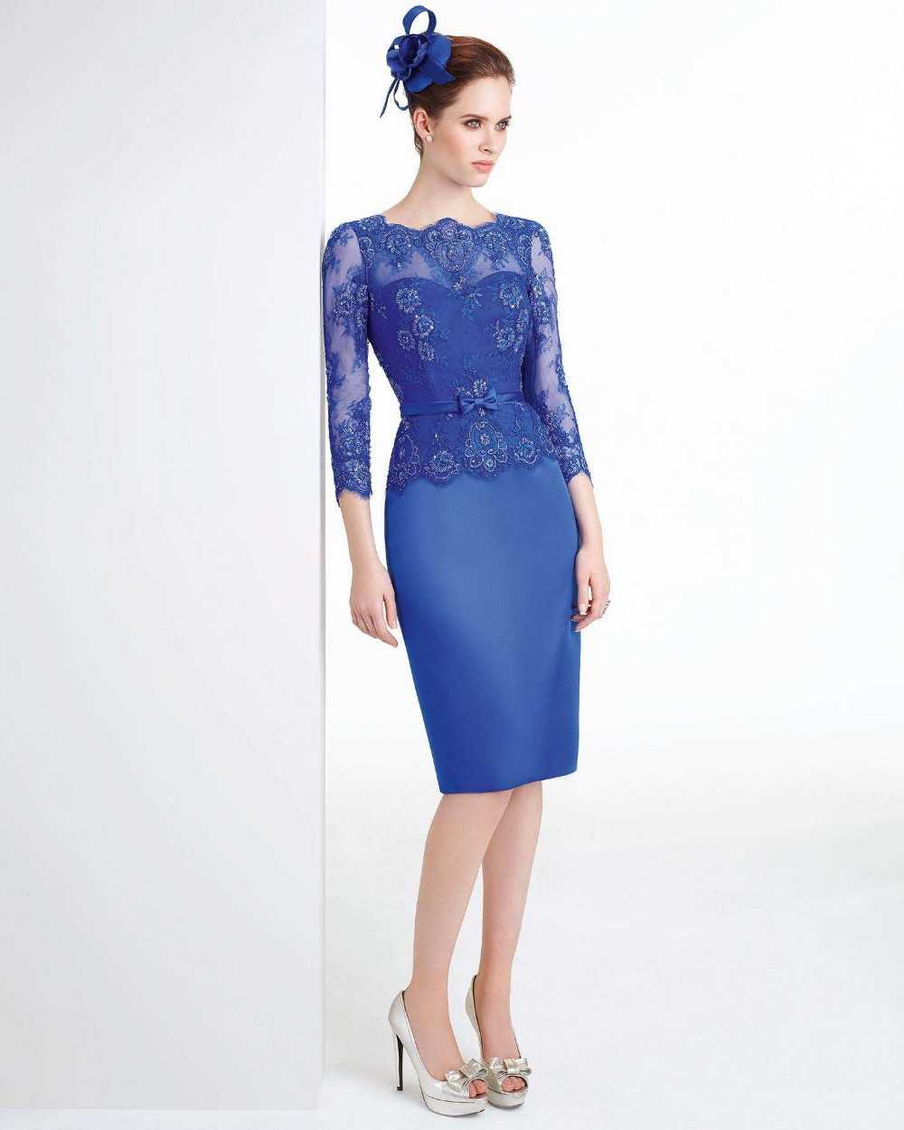 Graceful Royal Blue knee length mother of the bride dresses with three quarter sleeves lace appliques formal gown WW06