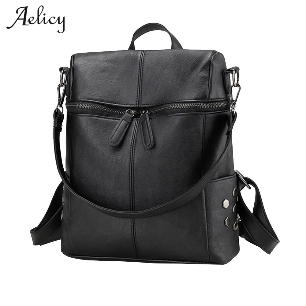 Aelicy 4 Colors Fashion Women Backpack Youth Vintage Leather Backpacks for Teenage Girls Female School Bag Bagpack Rugzak 1006