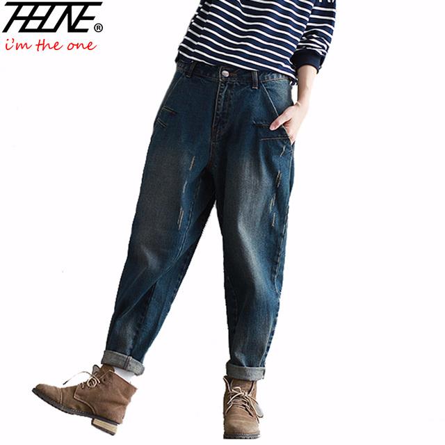 2016 de Invierno de Gran Tamaño de Los Pantalones Vaqueros Mujer Pantalones de Harén Pantalones Casuales Pantalones de Mezclilla de Moda Loose Harem Boyfriend Jeans Vaqueros de La Vendimia