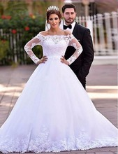 Luxury Ball Gown Boat Neck Lace Muslim Wedding Dresses Plus Size Long Sleeves Abric Bridal Gown Bride Dresses abiti da sposa