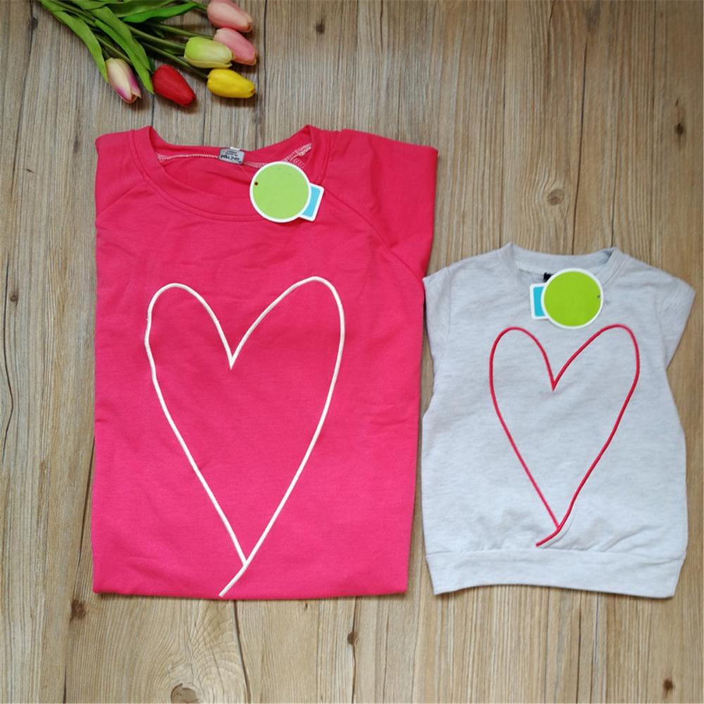 Woman Mother Kids Autumn Style Long Sleeve Heart Print Girl T-shirt Sweater Tops Blouse Family Clothes Family Matching Outfits