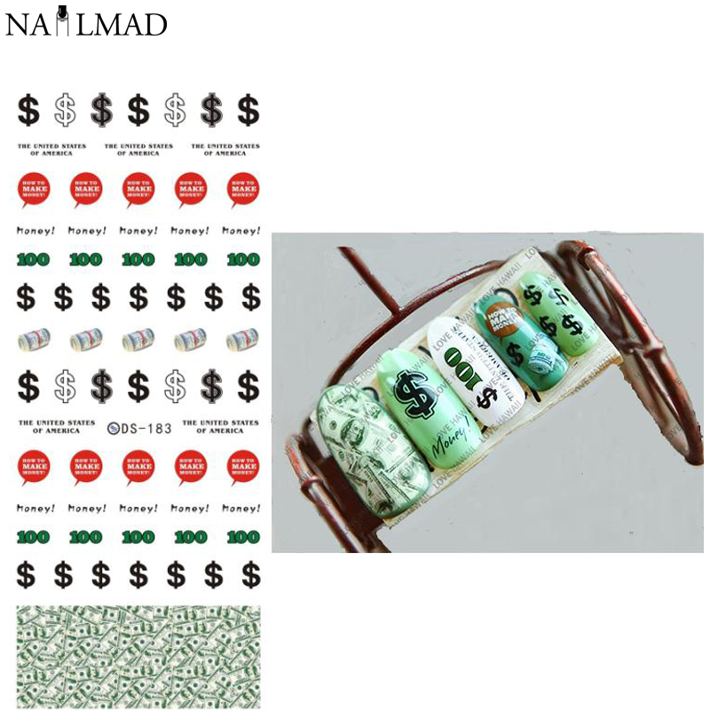 1 sheet Dollar Sign Nail Water Decals Currency Symbol Transfer Stickers Nail Art Sticker Tattoo Decoration DS183