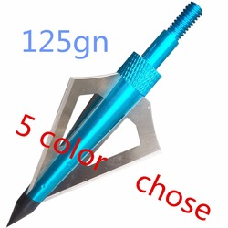 12pcs high quality hunting broadheads 125 gn 3 blades steel 5 color arrow heads for archery.jpg 250x250