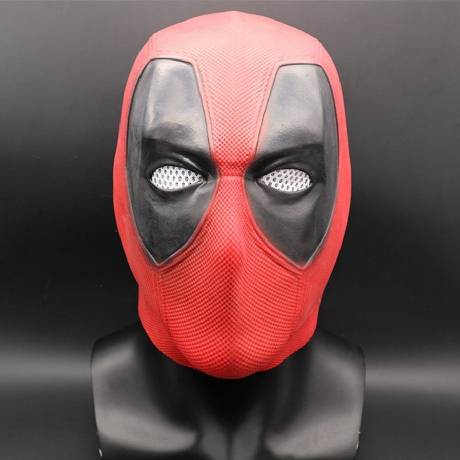 Marvel Superhero Deadpool 2 Full Head Latex Mask Halloween Cosplay Party Red Mask Costume Props Gift