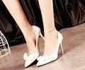 5. обувь девушку 2017 летний Корейский мелкая рот шпильках моды черный PU Лук указал каблуки сексуальные ботинки Партии Ночной Клуб для женщин