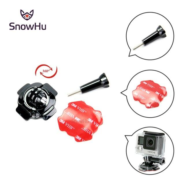 SnowHu 360 Graus de Rotação de Bloqueio Capacete Monte + 3 m Adesivo Para go pro Herói 7 6 5 4 Para xiaomi YI Sjcam Câmera EKEN acessorios GP92