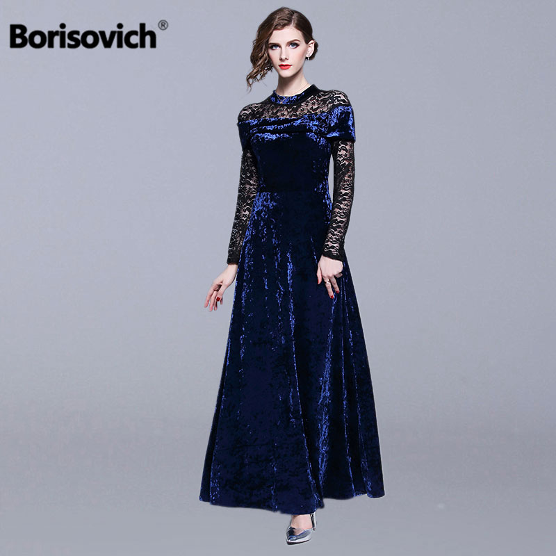 Borisovich Ladies Evening Party Dresses New Brand 2019 Spring Fashion Patchwork Lace Luxury Elegant Women Maxi