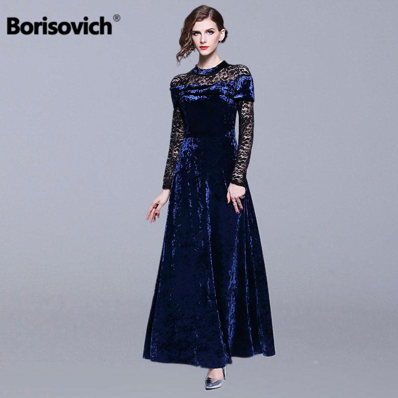Borisovich женские вечерние платья новый бренд 2019 весенние модные Лоскутные кружевные роскошные элегантные женские макси длинное платье N418