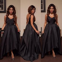 Vintage High Low Prom Dresses Arabic Dubia Custom Made V Neck Backless Evening Party Dress Simple