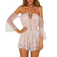 Off Shoulder Lace Floral Shorts Jumpsuits For Women Ruffle Backless Bodysuit Shiny Sequin Romper Playsuit Sexy Body Suits Femme