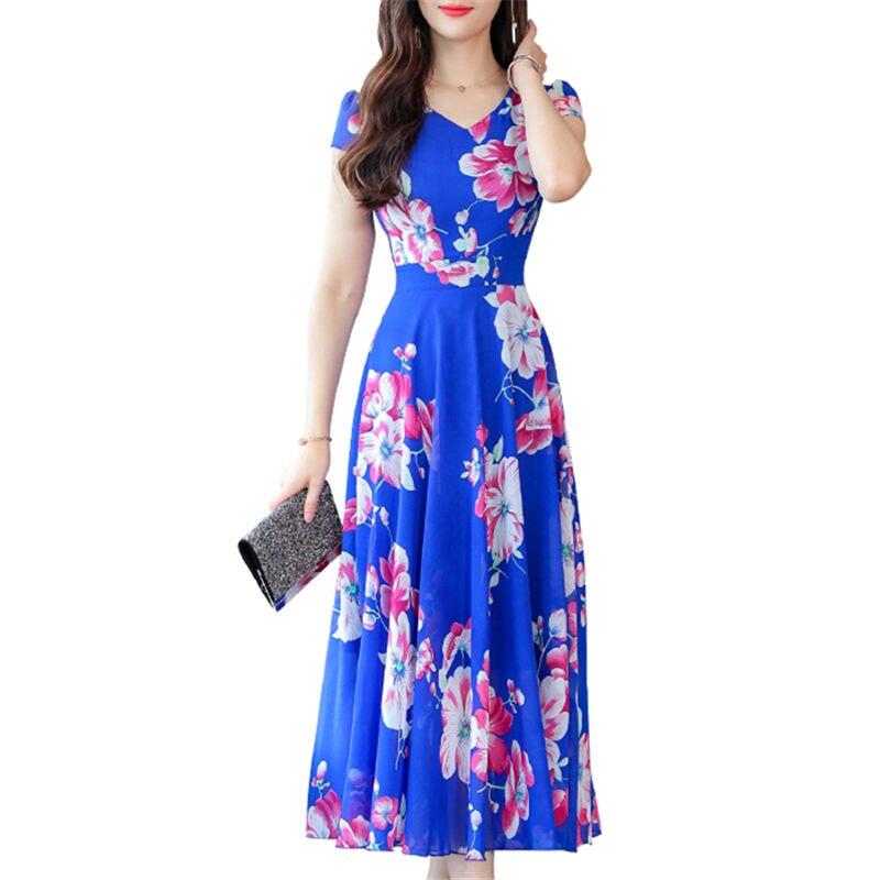 Мода повседневное Новый Boho синий шифон пляжное платье для женщин Лето 2019 г. цветочный принт с v образным вырезом короткий рукав плиссированн