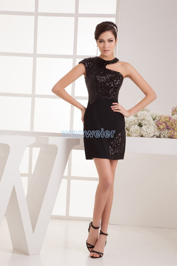 free shipping 2016 new design fashion real picture sexy one shoulder halter black beading custom size/color short   Cocktail     Dress
