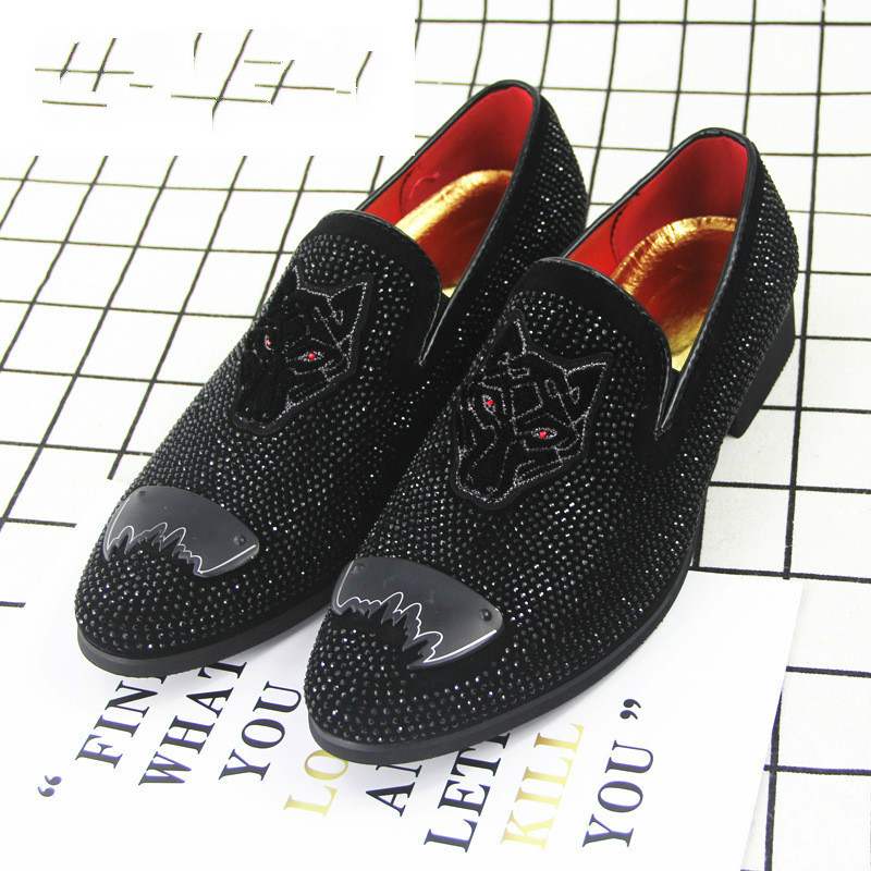 Formal Shoes Shoes Velvet Fabric With Fox Head Diamond Buckle Banquet Mens Shoes Mens Pointed Toe Dress Shoes