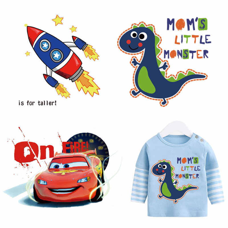 plane cars dinosaur stickers iron heat transfer thermocollants for kids clothes vehicle iron patches for clothing diy appliques
