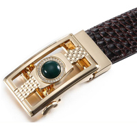2019 Men Artificial Gem Diamond Automatic Buckle Genuine Leather Belt Crocodile Grain Belts Alligator Jeans Belts XKS051b