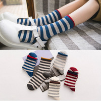 Girls cotton long sock 5 colors student style factory wholesale lovely high quality free shipment 12pcs/ lot