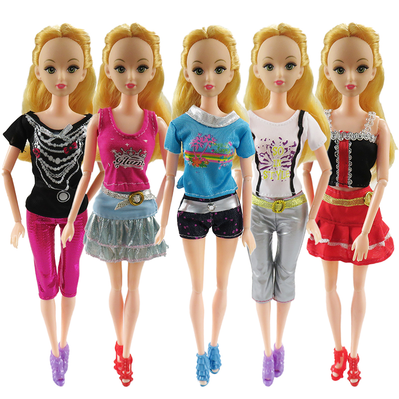 5 pieces. Handmade fashionable Clothes for dolls Barbie dress  for little girls for birthday gift for children little pieces платье little pieces модель 28949119