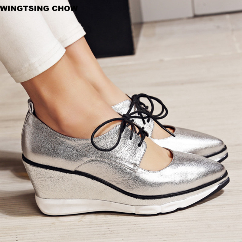 ФОТО Brand New Pointed Toe Wedge Shoes Heel Women Pump 8cm Comfortable Casual Women Platform Shoes Top Quality Superstar