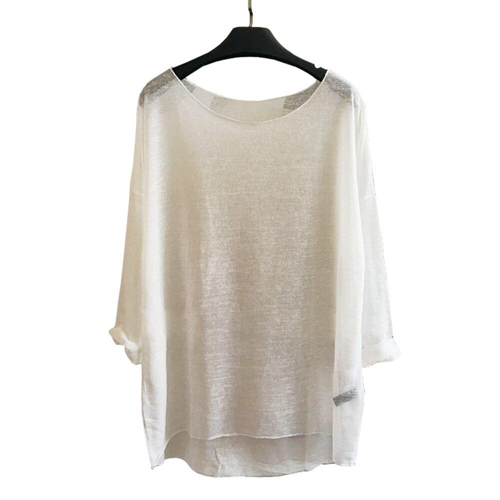 Frauen Transparent T-shirt Leinen Beiläufige Lose Gestrickte Tops Langarm Niedrigen Oansatz Pullover Solid One Größe Mode 906-549