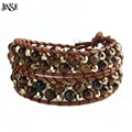 JINSE Friendship Weaving Leather 2X WP Bracelet Amethyst/Tiger Eye/Turquoise/Agate Bead Handmade Wristband Cuffs