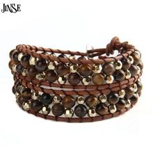Friendship Weaving Leather 2 Wrap Bracelet Amethyst/Tiger Eye/Turquoise/Aquamarine/Agate Bead Handmade Wristband Cuffs  faux aquamarine longevity lock bead bracelet