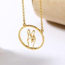Peace Sign Pendant Necklace Collier Womens Cross Necklaces Pendants Jewelry Accessories OK Language