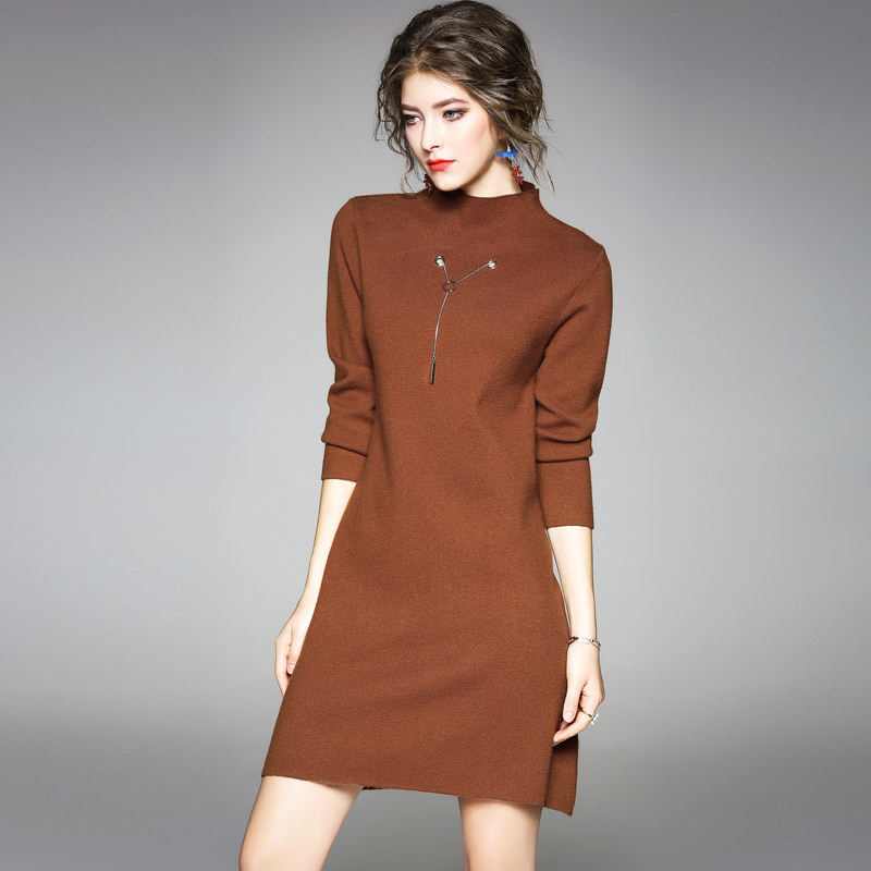 High quality elastic knit sweater dress 2017 new brand runway women autumn winter dress solid office lady loose a-line dress