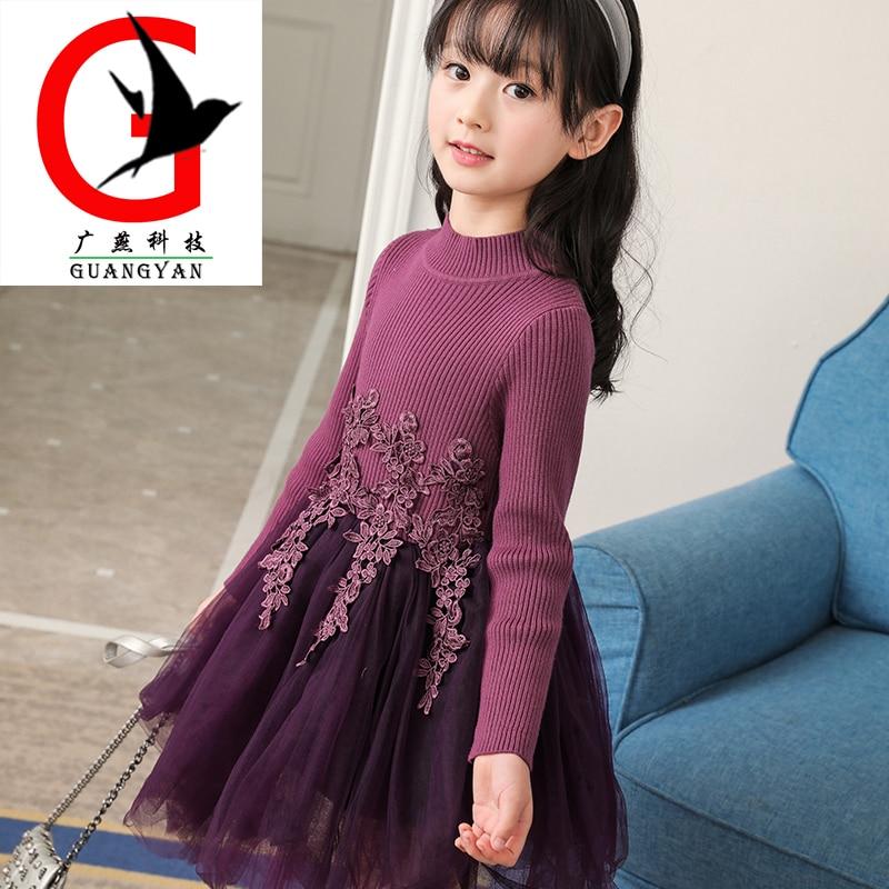Girls dress 2017 new spring Children's baby princess dress Baby princess dress Korean sweater knit dress HLME-LYQ-1703 2015 new jacadi baby sweater dress yf01