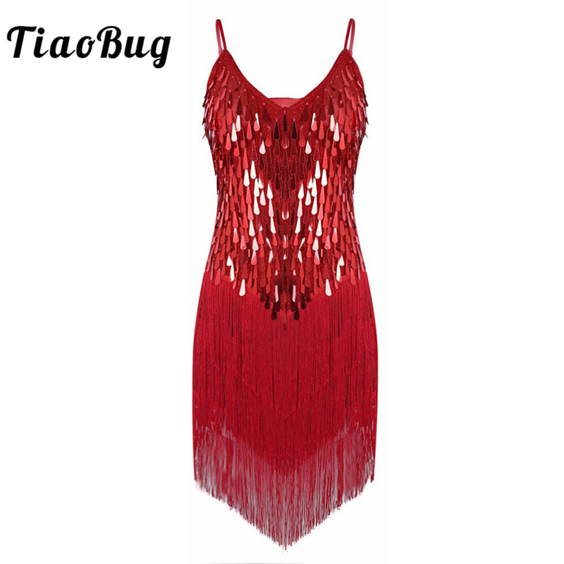 TiaoBug Women Shiny Sequins Fringe Dance Party Dress Gowns Rhythm Ballroom  Samba Rumba Tango Stage Salsa ff077153c6b4