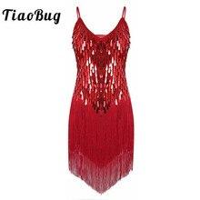 TiaoBug Women Shiny Sequins Fringe Dance Party Dress Gowns Rhythm Ballroom Samba Rumba Tango Stage Salsa Adult Latin Dance Dress