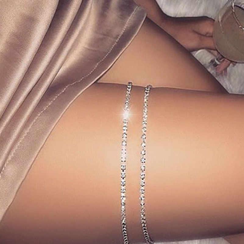 1 pcs סקסי נשים זהב-צבע קריסטל רגל צמיד ירך גוף ביקיני החוף רתם קיץ רגל שרשרת תכשיטי אבזרים x163