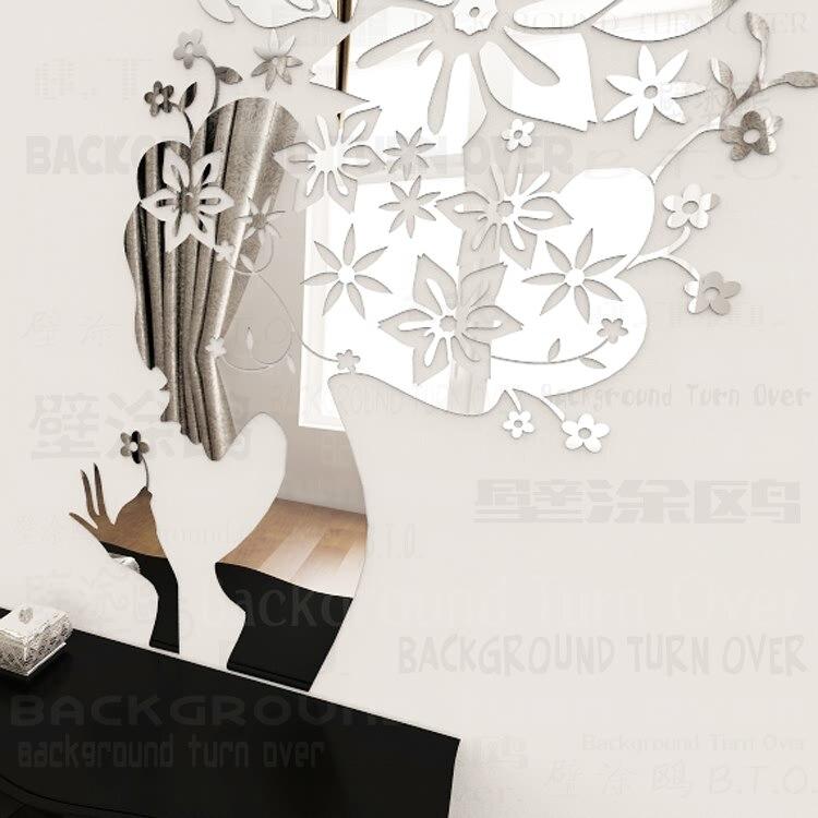 3D Divers couleurs printemps nature papillon le floral fée sticker mural filles chambre décoration decal beauté salon de coiffure décor R191