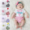 3pcs headband+pants +Bodysuits Kids Newborn Infant Baby Girl Floral Bodysuit Sets Clothes