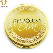 100pcs/lot Customized LOGO Cosmetic Mirror Gold Color Compact Mirrors Custom Private Label Golden Lady Makeup Company