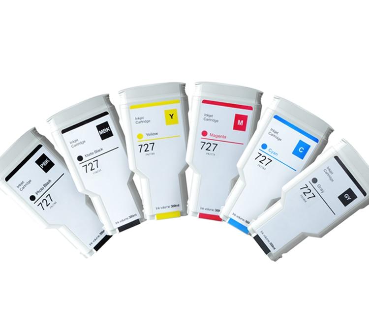 Cartouche d'encre Compatible SAYA HP 727 300ML pour imprimante HP DesignJet T920 T2500 T930 T1530 T2530 T1500 (PBK C M Y GY MBK)