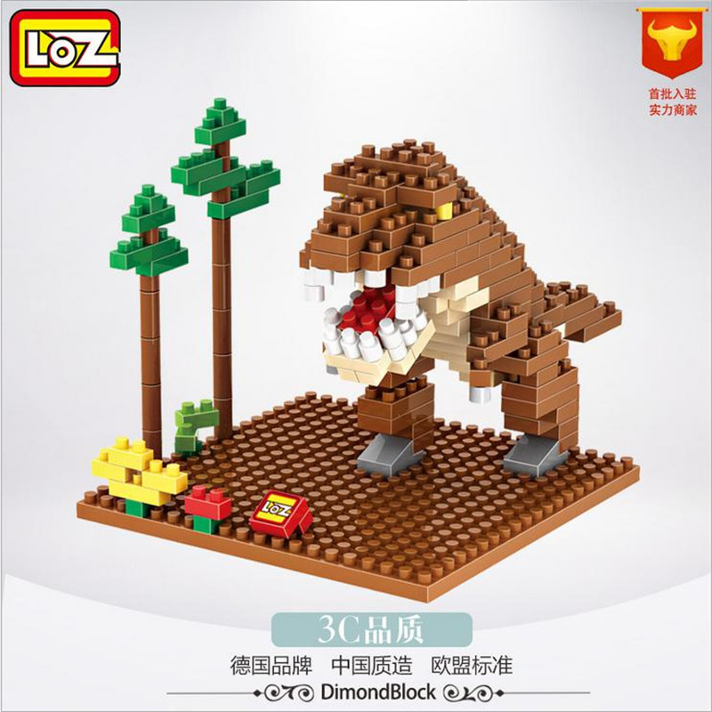 LOZ Block Jurassic World Original Dinosaur Tyrannosaurus Rex Action Figure 3D Diamond Educational Building Blocks Gift Toys 9485 loz mini diamond building block world famous architecture nanoblock easter island moai portrait stone model educational toys
