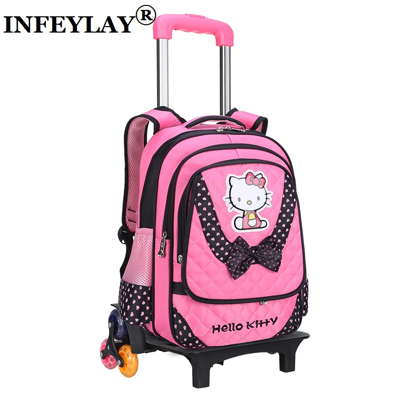 Hello kitty Cartoon trolley case Climb the stairs child school bag kids students rolling suitcase girl backpack travel luggage 2pcs set kids luggage child pencil case school bag students boy s girls climb stairs rolling suitcase children travel backpack