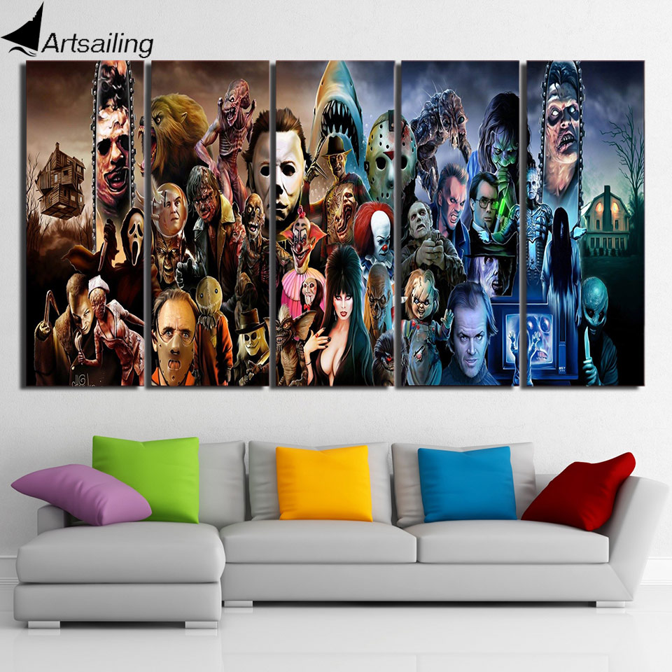 5 panelů plátno umění nástěnné umělecké plakáty a tisky Horor Film Postavy malování nástěnných obrazů pro dekorace v obývacím pokoji XA2414C