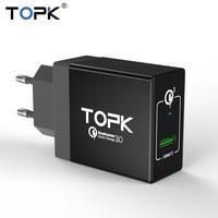 TOPK Qualcomm Quick Charge 3 0 18W 3A Max Portable 1 Port EU Plug Wall Mobile