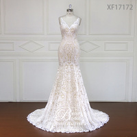 Custom made Stunning Vintage White V neck With Cap Sleeves Beaded Mermaid Lace Wedding Dresses Vestido De Renda