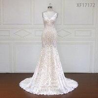 Custom made Stunning Vintage White V neck With Cap Sleeves Beaded Mermaid Lace Wedding Dresses Vestido De Renda