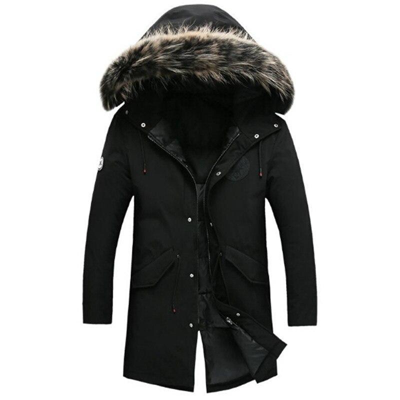 2018 модная брендовая одежда Для мужчин S утка Куртки молодежи Для мужчин S Зимняя парка с Мех животных капюшон Для мужчин зимнее пальто