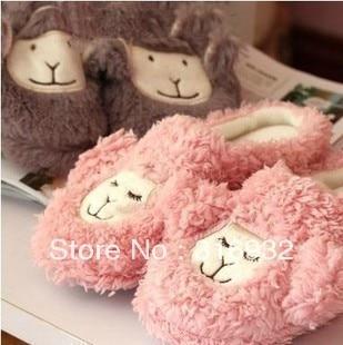 K5 Autumn and winter sleep sheep design alpaca home plush floor lovers slippers semi-trailer