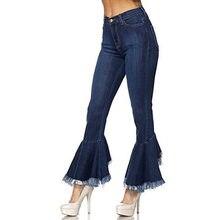 Calças de ganga Para Mulheres 2018 Jeans Queimado mulheres Tassel  Alargamento Estilo Retro Fundo Sino Magro Calça Jeans Feminina. 47c7fc98d9